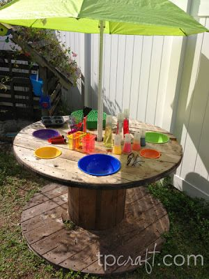 Giant Spool UpCycled into an outdoor Science Lab for kids