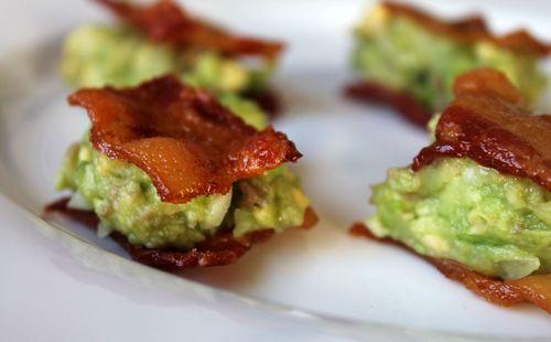 Guacamole Bacon Bites...yes!!!  Yummy guacamole between two bacon squares.