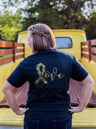 Navy Autism Awareness Love T-shirt