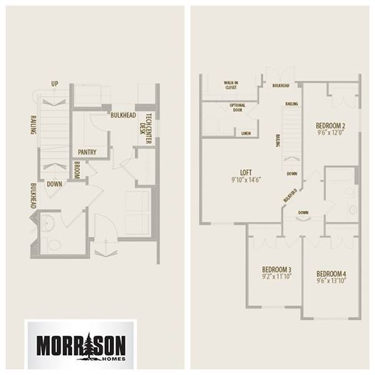 Our popular Everett model has so many great options to choose from, but we picked two: Main Floor Laundry (this) and an Upper Floor with a 4th Bedroom and Loft (that). Which floorplan options would you choose?