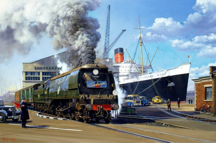 Ocean Liner Birthday Card - Malcolm Root - Cunarder - RMS Queen Mary Painting