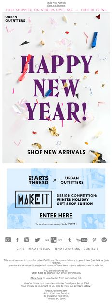Urban Outfitters New Year's holiday card email 2014