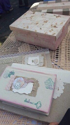 Cajas decoupage con papel Artesanal. CARTEO. PAPELES ARTESANALES. Paraguay