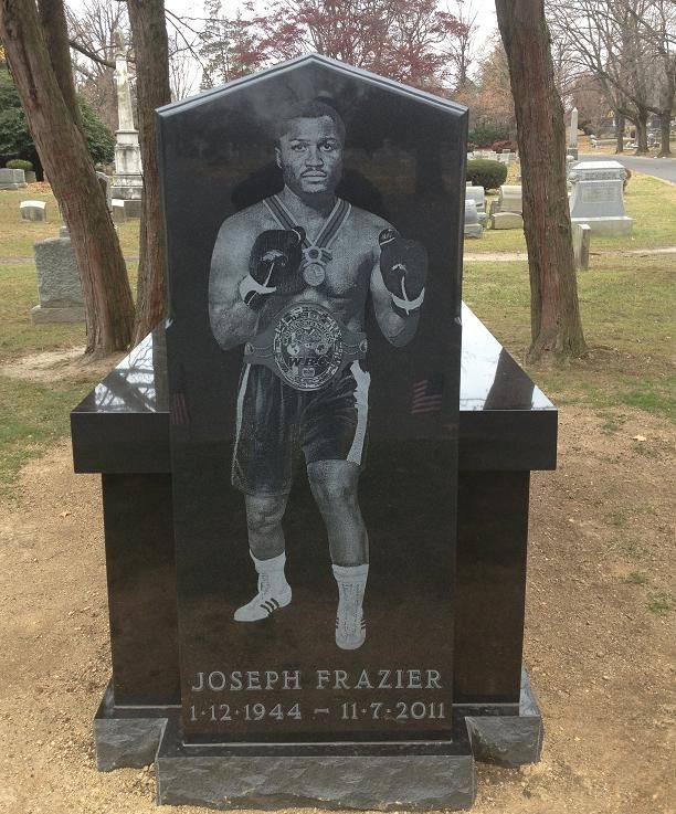 Grave Marker- Joe Frazier, Olympic Heavyweight Boxer. Frazier's private funeral took place on November 14 at the Enon Tabernacle Baptist Church in Philadelphia and in addition to friends and family was attended by Muhammad Ali, Don King, Larry Holmes, Magic Johnson, Dennis Rodman, among others. He was later buried at the Ivy Hill Cemetery.  (More go to: http://www.thefuneralsource.org/deathiversary/november/07.html)