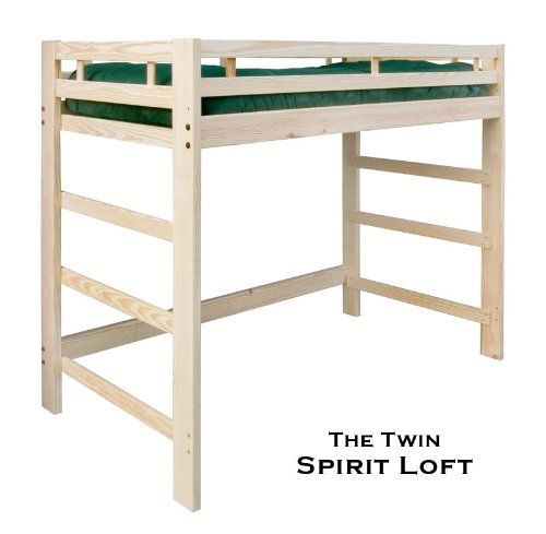 Twin spirit loft bed natural unfinished solid wood for Unfinished loft bed