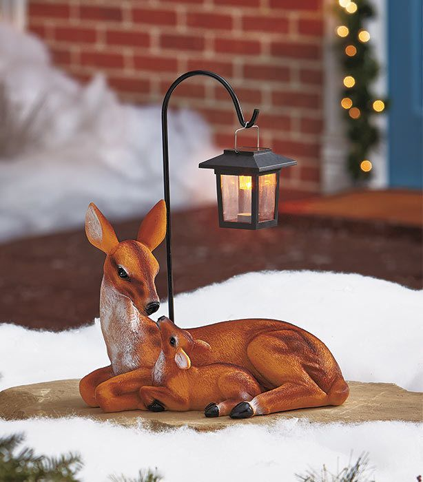 Deer Family Statue Solar Light Up Outdoors Home Decor Yard