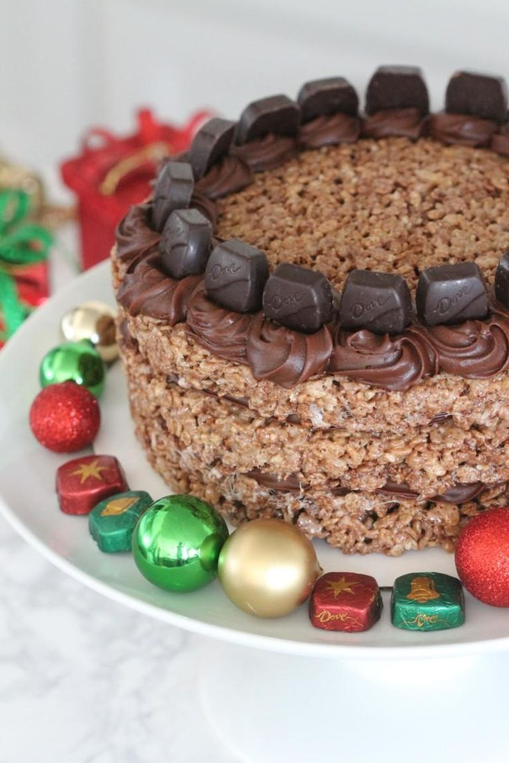 Chocolate salted caramel cocoa krispies cake with images