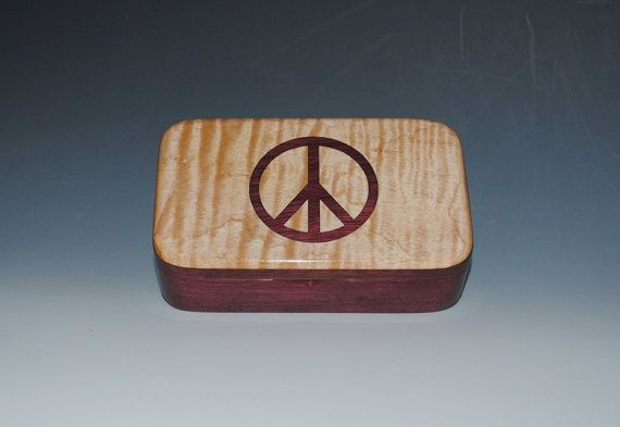 Ultimate Peace Sign Wooden Box - Purple Heart and Fiddleback Maple $48 and it's made in Michigan!