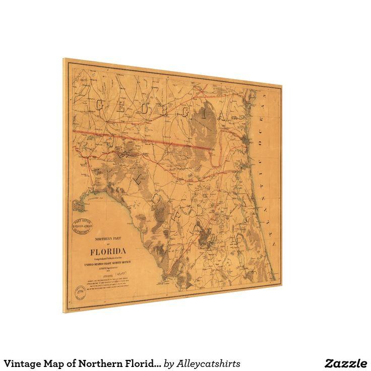 Vintage Map of Northern Florida (1864) Canvas Print