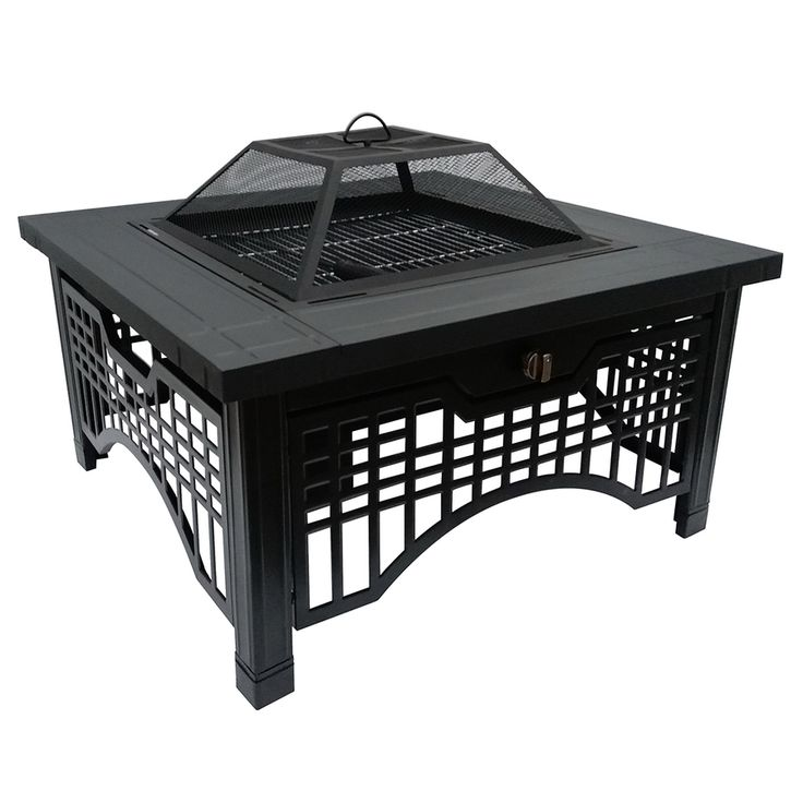 Pleasant Hearth 36-in W Matte Black Steel Wood-Burning Fire Pit with Fireshot Ignition System