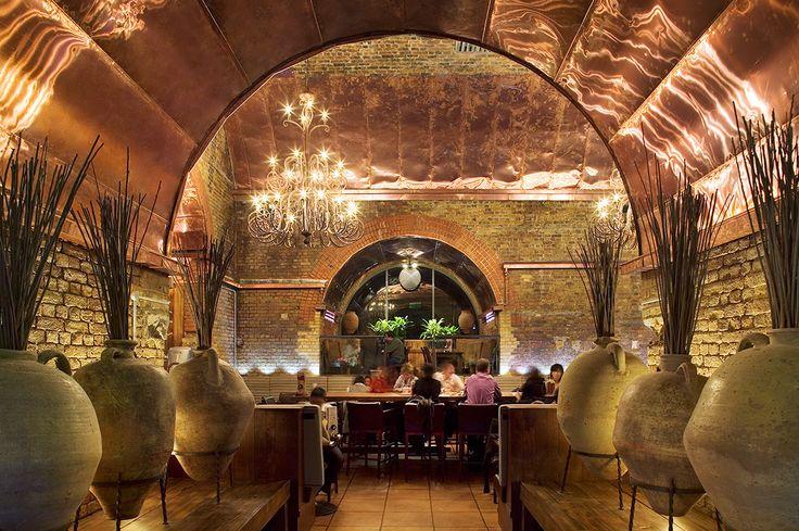 Copper interior decoration nando s restaurant