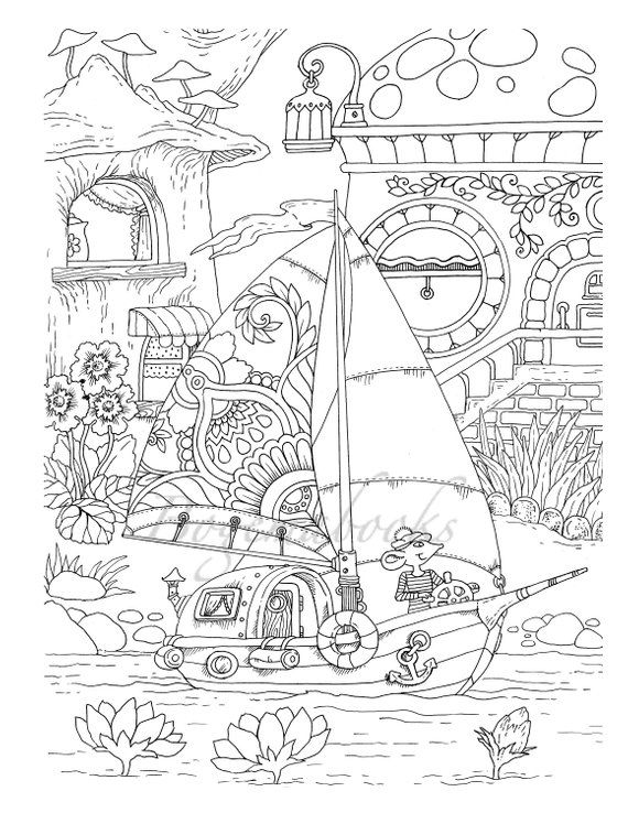 Nice Little Town 5 (Adult Coloring Book, Coloring pages PDF ...