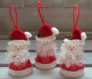 Flower Pot Crafts - Santa Ornament