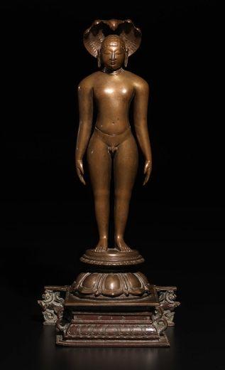 Jina Parsvanatha. India, Tamil Nadu, Vijayanagar Period, 14th century. Bronze. 14.5 inches (36.8 cm).. Asia Week New York   Nayef Homsi