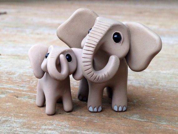 Elephant: Handmade miniature polymer clay animal by AnimalitoClay