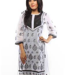 Buy Ada Hand Embroidered White Medium Cotton Lucknow Chikankari Long  Kurti long-kurti online