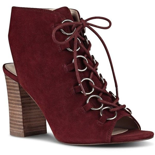 Nine West Bree Peep Toe Suede Ankle Boots ($109) ❤ liked on Polyvore featuring shoes, boots, ankle booties, red, red peep toe booties, faux suede booties, peep-toe booties, red suede booties and suede lace up booties