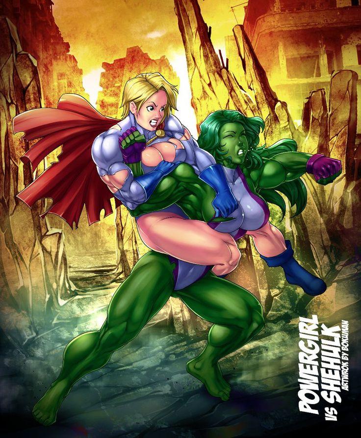 Power Girl Vs She-Hulk By Venneker On DeviantArt