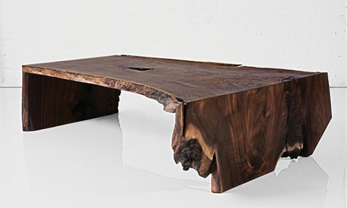 FOLD RAW EDGE WALNUT SLAB COFFEE TABLE  Materials: Solid walnut Dimensions: 58L x 34W x 16W  Options: Wood species, size, style