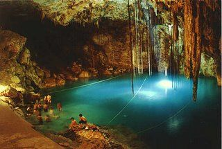 Cenote near Chitchen Itza, Mexico.  Swimming in this clean clear cold water is amazing Destination-Wedding-Experts.com