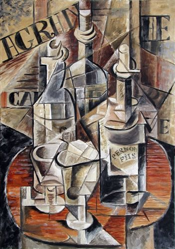 Pastiche Cubist still Life for 'Times' commercial. Oil on canvas by Timna Woollard