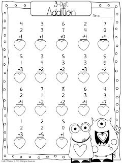 Valentine 3-Digit Addition Freebie