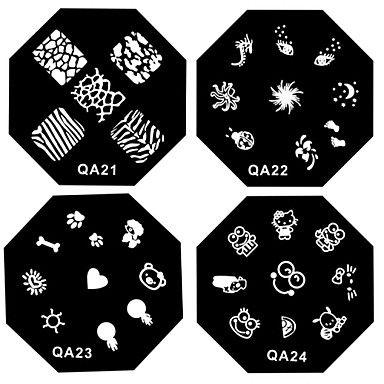 1PCS Nail Art stempel stempling billede skabelon plade QA Series NO.21-52 (assorteret mønster) – USD $ 1.99