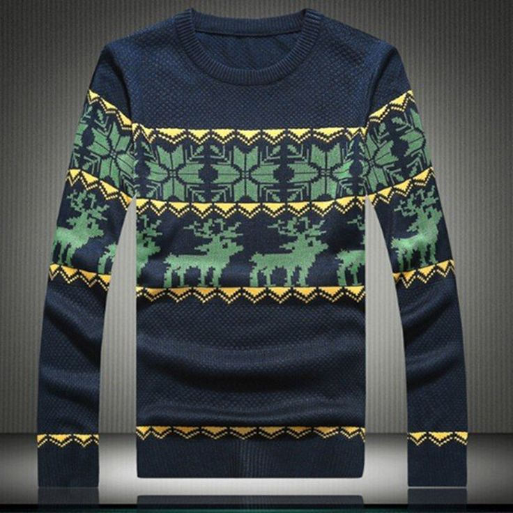 FLYMALL 2017 Fashion Autumn Winter Brand Men Sweaters Christmas Snowflake Deer Floral Pullovers Casual Top O-Neck Man Knitwear #Affiliate