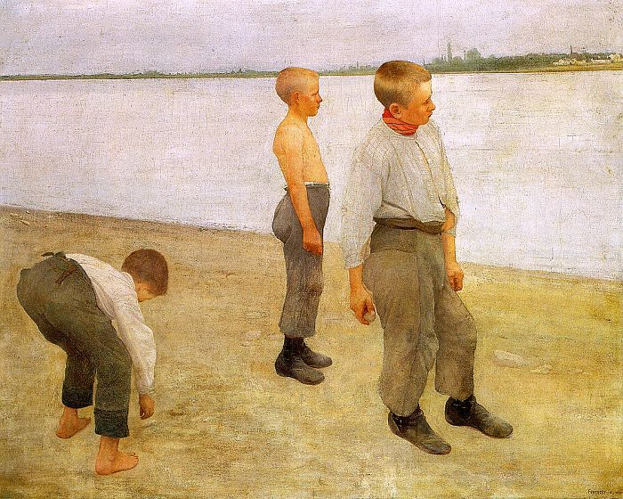 Károly Ferenczy -   Boys Throwing Pebbles into the River (1890)