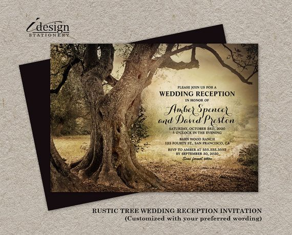 Rustic Woodland Wedding Reception Only by iDesignStationery