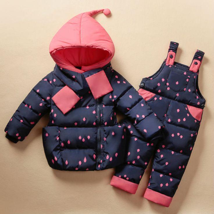 Cool 2017 Winter Children's Clothing Set Kids Ski Suit Overalls Baby Girls Down Coat Warm Snowsuits Jackets+bib Pants 2pcs/set 0-5T - $67 - Buy it Now!