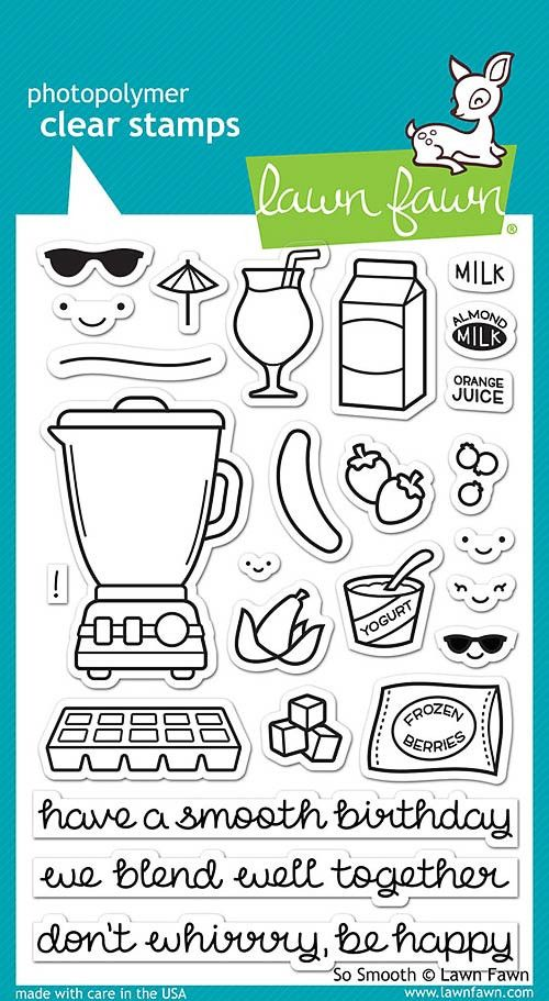 """LAWN FAWN: So Smooth (4"""" x 6"""" Unmounted Clear Acrylic Stamp Set) Don't whirrrrrry about a thing… this set of 26 clear stamps has everything you need to blend up a cute card! The smoothie themed set is"""