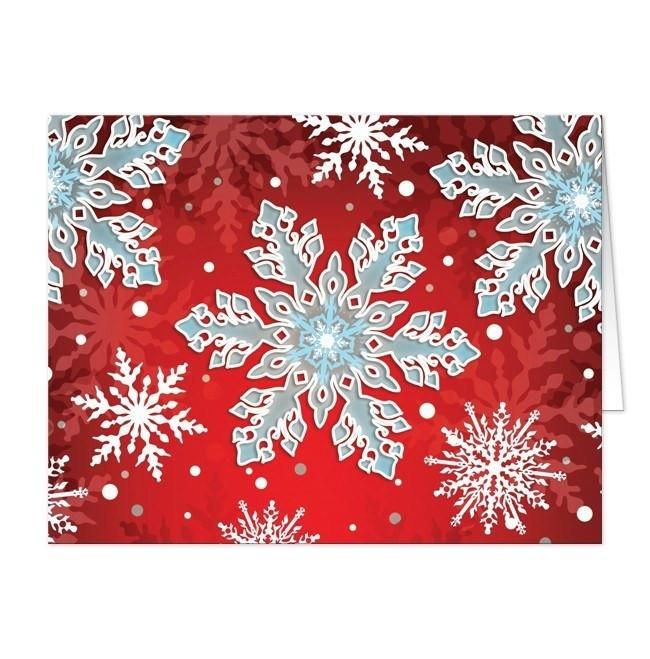 I wanted to share with you these Royal Red White Blue Snowflake Note Cards? Do you like them?  | Winter snowflake note cards designed with a rich royal red gradient background covered in ornate white and blue snowflakes. Can be used as thank you cards for your Winter events and occasions. You have the option of either ordering these high quality cards with a blank inside at a very affordable cost, or upgrading to add a personalized message printed inside.