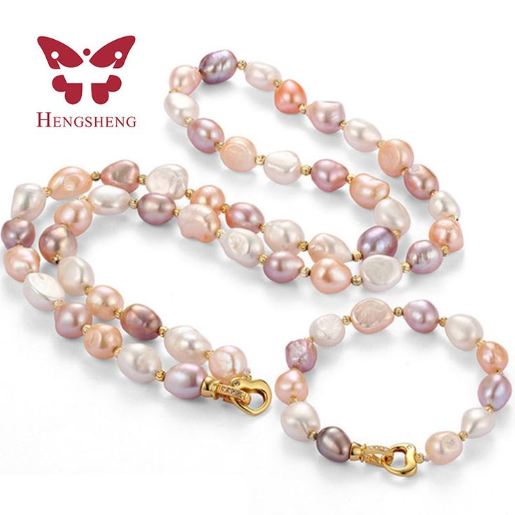 HENGSHENG 9-10MM natural freshwater pearl necklace&bracelet sets. Fine Jewelry Set Baroque Pearl Jewelry