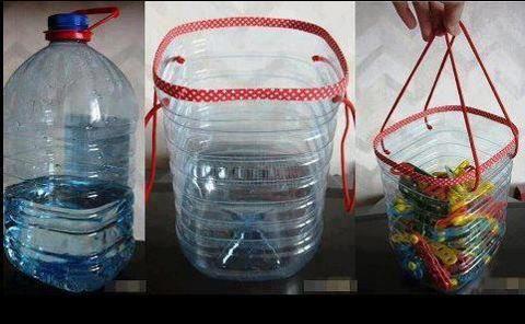 Cesta con botella de agua!   Manualidades y mas!!!!!
