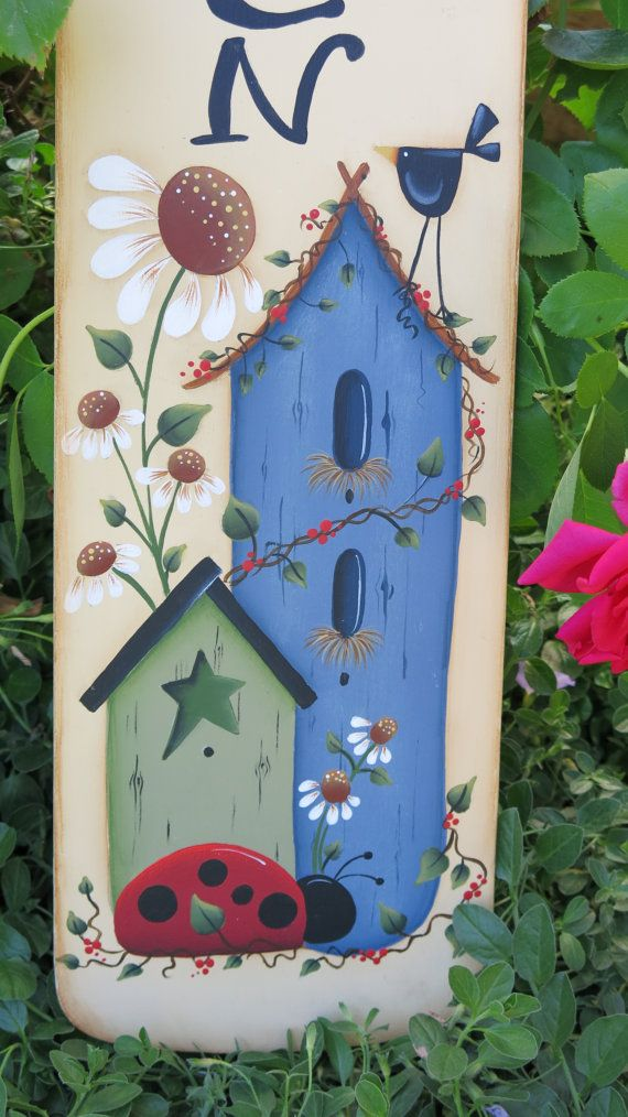 Garden sign painted fan blade by MyPaintedSwan on Etsy