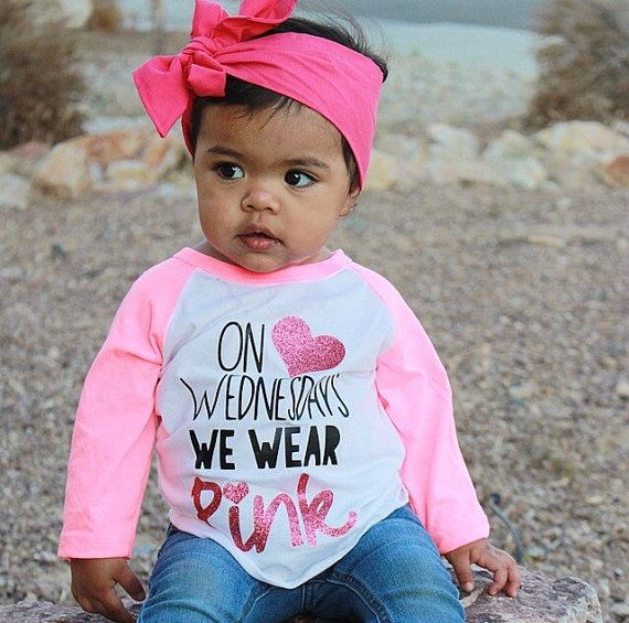 On Wednesdays We Wear Pink Shirt Girl's Raglan by PurplePossom