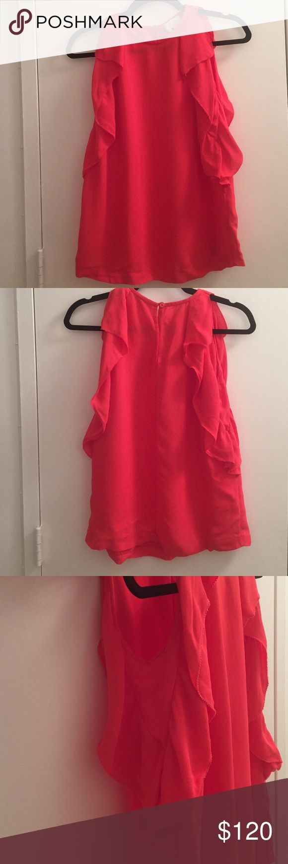 Kate spade chiffon ruffle top Button closure on the back kate spade Tops Blouses