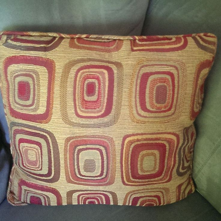 Geometric Design Throw Pillow With Piping 17 Square Burgundy Sage Made In Usa Newport