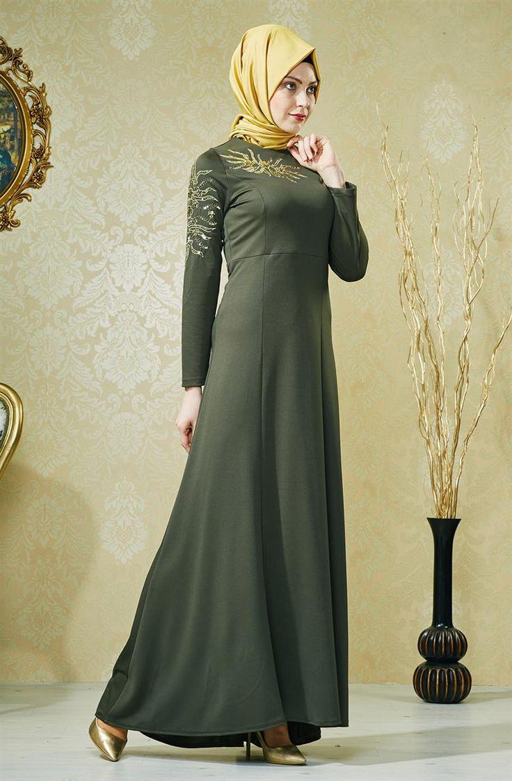 ... Tesettür Giyim Tesettür Elbiseler Hijab United Elbise-Haki 6144-27