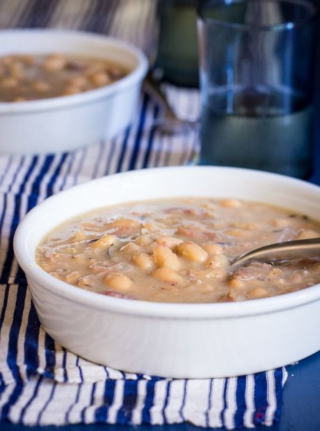 A recipe for the most super easy slow cooker soup with Great Northern Beans and a ham bone.