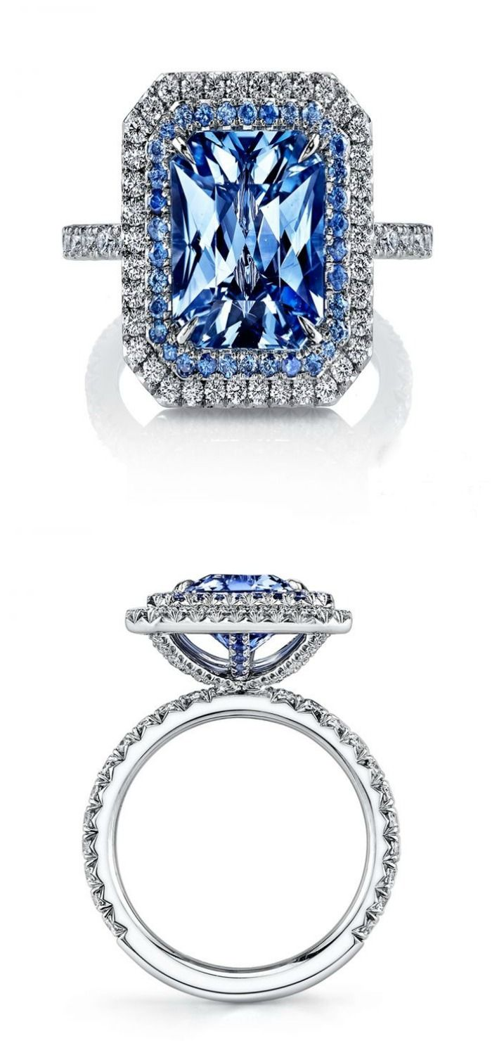 Omi Prive's award-winning sapphire and diamond ring with a 3.46 carat sapphire, .95 carats of diamonds, and .33 carats of smaller sapphires.