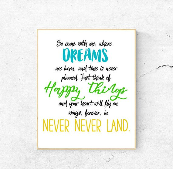 Neverland Quote JM Barrie Peter Pan Instant download 8x10