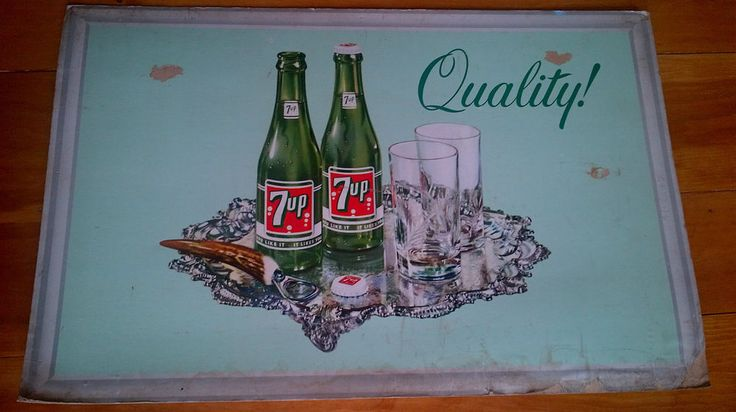 Vintage 1965 7UP Advertisement Cardboard Lithograph Sign