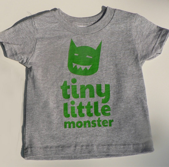 Tiny Little Monster Baby T-Shirts Heather Grey 6mo / 12 mo / 18 mo / 24 mo. $15.00, via Etsy.: Monster Party, Baby T Shirts, Little Monsters, Heather, Grey 6Mo