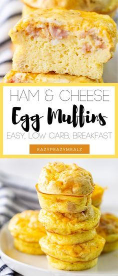 Ham and Cheddar Cheese Breakfast Egg Muffins