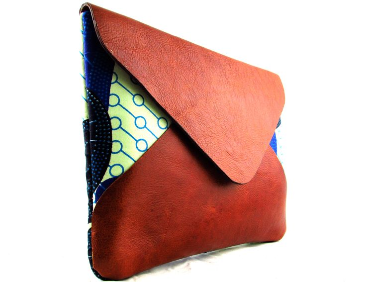 Adisa handmade recycled leather and African fabric Ipad/Clutch Bag by FUNDI