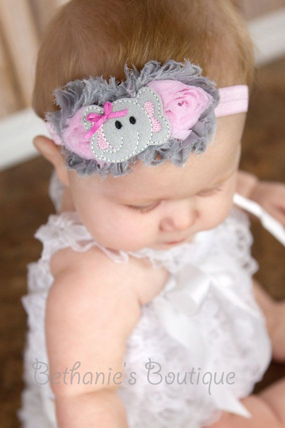Shabby Chiffon Elephant headband, cutest thing I have ever seen!!!! :D