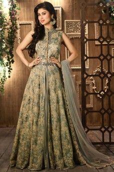 Mouni Roy Grey and Mehendi Green Designer Partywear Embroidered Net Anarkali