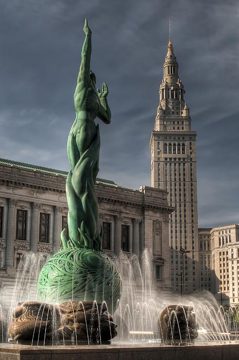The Fountain of Eternal Life is also known as the War Memorial Fountain is located in Memorial Plaza part of the The Cleveland Mall in the downtown area of Cleveland. It was designed by Marshall Fredericks and dedicated on May 30, 1964. The sculpture serves as the city's major memorial to its citizens that served in World War II.